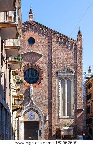 Facade Of Chiesa Di Sant Eufemia In Verona City