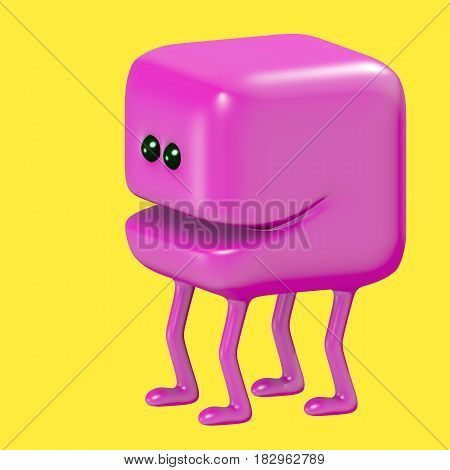 Cute smiling cube on legs. Funny emoticon character. 3D illustration.