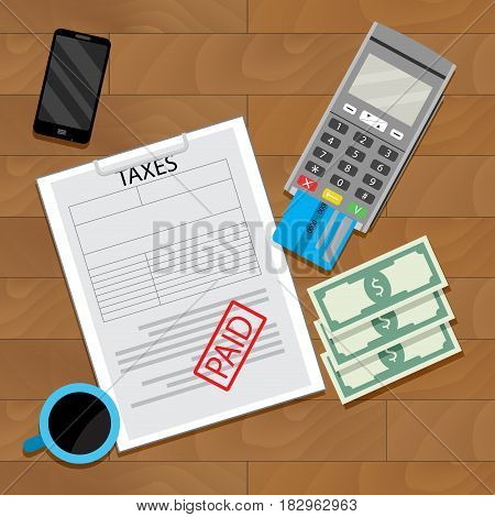 Paying tax web transaction payment financial vector illustration