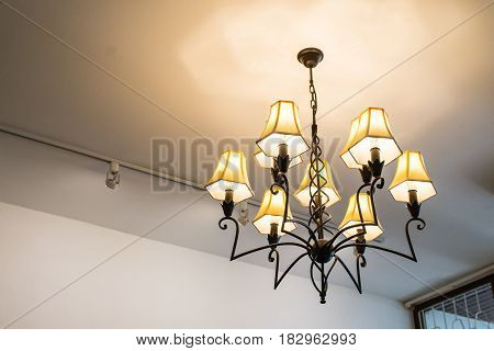 Electronic black lamp hanging on the floor,
