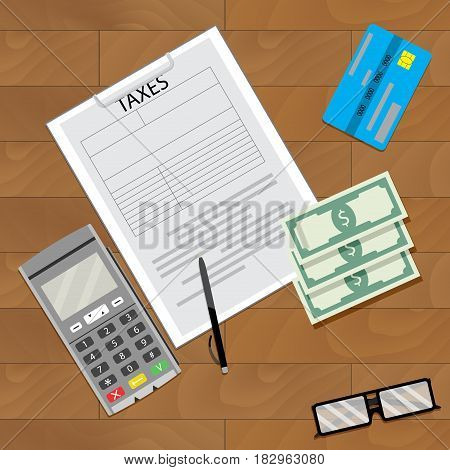 Finance tax and credit card machine accounting business on wooden table. Vector illustration