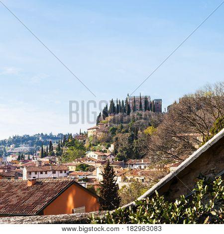 View Of Castel San Pietro In Verona City In Spring