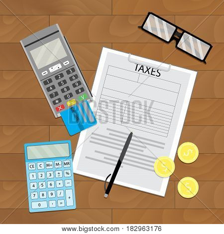 Earning and counting money. Wooden table top view. Vector illustration