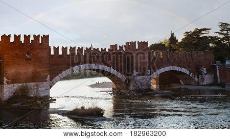Castelvecchio (scaliger) Bridge In Spring Evening