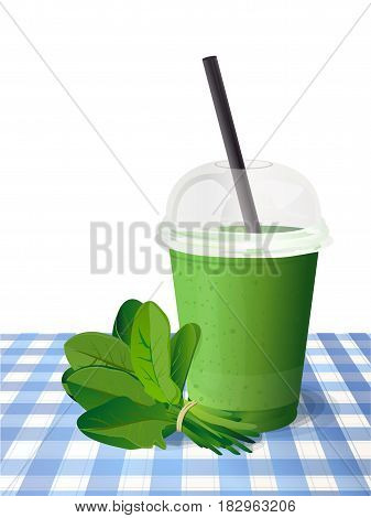 Smoothie fresh healthy detox natural spinach green plastic cup to go, straw. Beautiful vector vertical illustration freshness diet drink, cocktail, on blue checkered tablecloth and white background