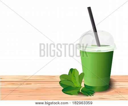 Smoothie fresh healthy detox cleaning natural spinach green plastic cup to go straw tube. Beautiful vector horizontal illustration freshness diet drink weight loss cocktail on white background