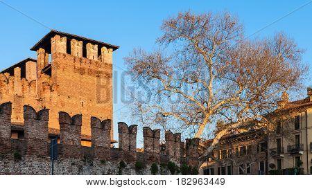 Castelvecchio Castel In Verona City In Evening