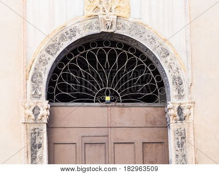 Door Of Medieval Palazzo On Street Contra Porti