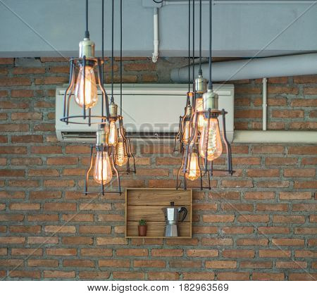 Electronic black lamp hanging on the ceiling