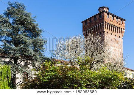 View Torre Di Porta Castello In Vicenza In Spring