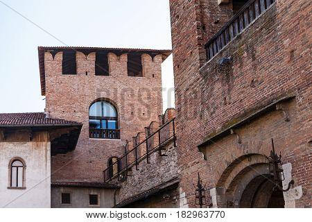 View Of Towers Of Castelvecchio (scaliger) Castel