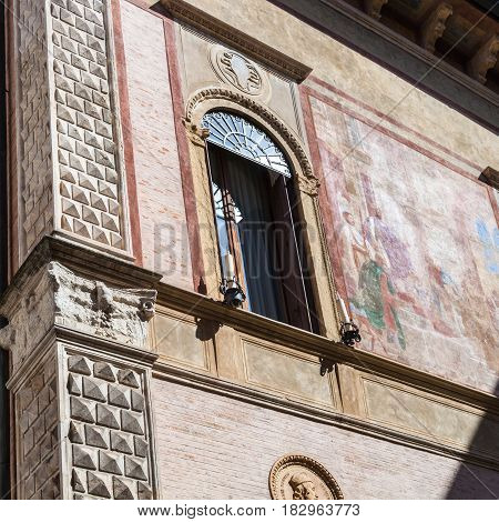 Wall With Fresco On Medieval Palazzo In Vicenza