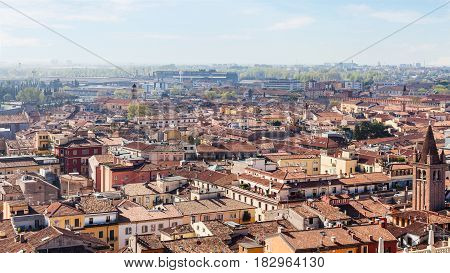 Above View Of Verona City In Spring