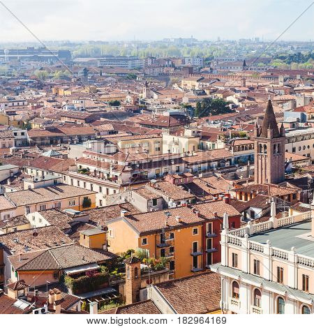 Above View Of Verona Town In Spring