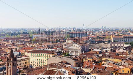 Above View Of Verona Town With Roman Amphitheater