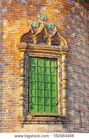 Ornate window on exterior decor of St. John the Baptist Church in Yaroslavl
