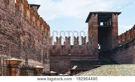 M-shaped Merlons On Wall Of Castelvecchio