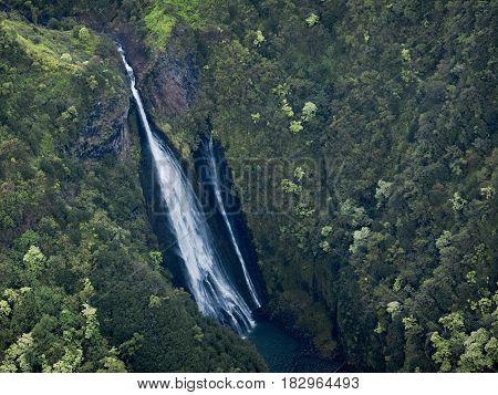 Green Getaway Exotic Paradise, Waterfall in Kauai, Hawaii