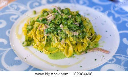 Plate With Tagliatelle, Asparagus And Ham