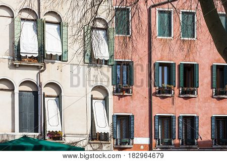 Apartment Houses On Campo San Polo In Venice