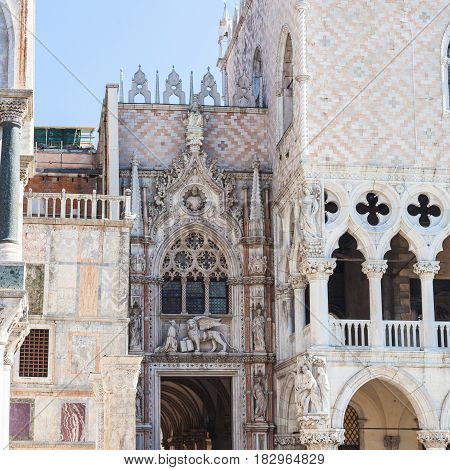 Decorated Portal Of Doge's Palace In Venice