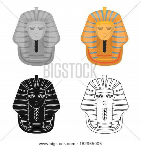 Pharaoh's golden mask icon in cartoon style isolated on white background. Ancient Egypt symbol vector illustration.