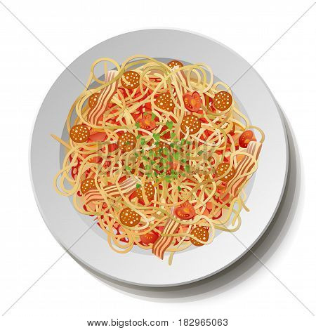 Pasta macaroni spaghetti carbonara: fried sausage salami bacon tomato parsley leaves plate. Vector square closeup top view illustration fresh italian traditional meal sign isolated white background.