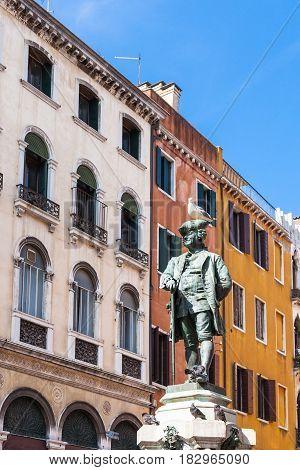 Statue Of Carlo Goldoni On Campo San Bartolome