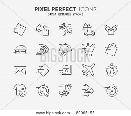 Thin line icons set of fast services shipping and delivery. Outline symbol collection. Editable vector stroke. 64x64 Pixel Perfect.