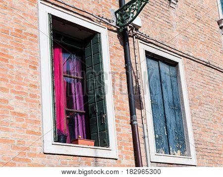 Windows Of Urban House In Venice City
