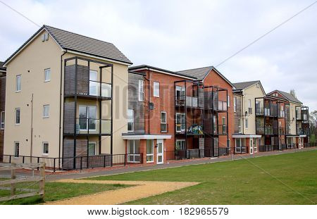 Bracknell, England - April 12, 2017: Exterior view of a modern apartment block with balconies in Bracknell, England