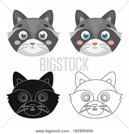 Raccoon muzzle icon in cartoon design isolated on white background. Animal muzzle symbol stock vector illustration.