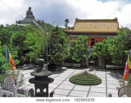Po Lin Monastery in on the island of Lantau in Hong Kong