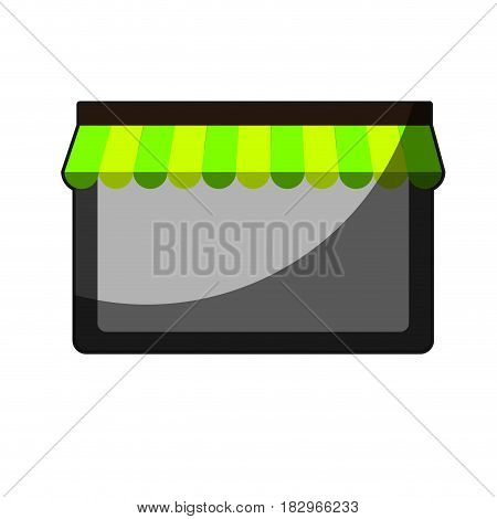 store window with striped awning icon over white background. vector illustration