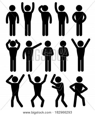 Stick figure positions set vector. Pictogram Icon