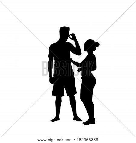 Silhouette Couple Man Speak On Cell Smart Phone Call Standing Full Length Over White Background Vector Illustration