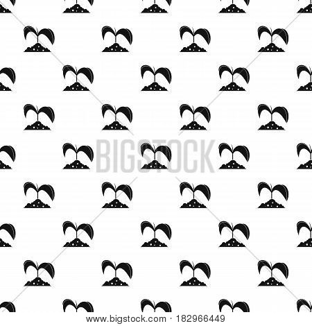 Green seedling in soil pattern seamless in simple style vector illustration