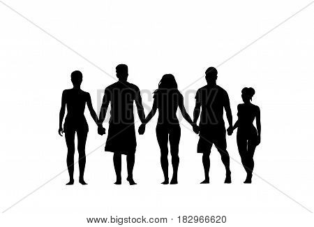 Silhouette People Group Stand Holding Hands Man And Woman Full Length Over White Background Vector Illustration