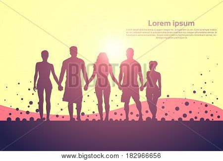 Silhouette People Group Stand Holding Hands Man And Woman Full Length Vector Illustration