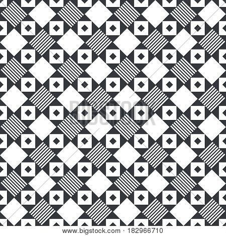 Plaid seamless pattern. Classical tablecloth texture. Checkered fabric background. Regularly repeating geometric tiles with rhombuses squares triangles stripes. Vector element of graphical design