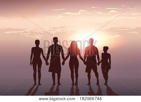 Silhouette People Group Stand Holding Hands Man And Woman Full Length Over Sunset Background Vector Illustration