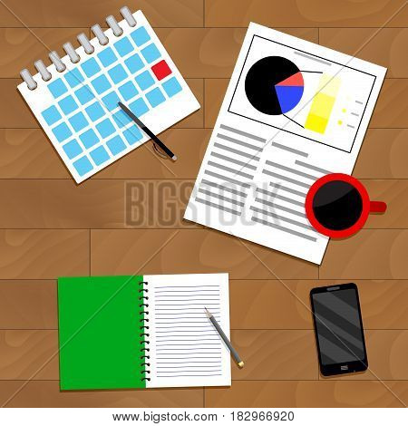 Strategic planning top view. Analysis and organize plan. Vector illustration