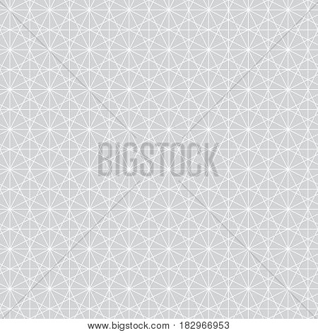 Vector seamless pattern. Infinitely repeating modern geometrical texture consisting of intersecting thin lines which form irregular hexagonal linear shapes: hexagons; rhombus; triangle.