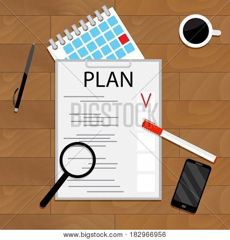 Monthly planning concept. Organize work creative plan target vector illustration
