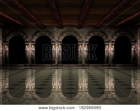 Dark medieval castle hall with arches and torches 3d illustration.