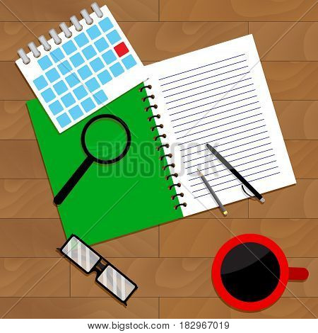 Wooden desktop view. Notebook and paperwork organize business work. Vector illustration