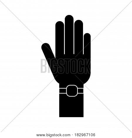 human hand with watch icon over white background. vector illustration