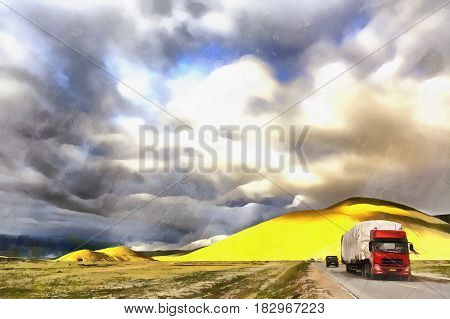 Colorful painting of mountain landscape with motorway from Namtso lake to Lhasa, Tibet, China