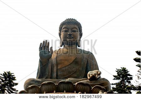 Tian Tan Buddha or Giant Buddha statue at Po Lin Monastery Ngong Ping Lantau Island Hong Kong China isolated on white background