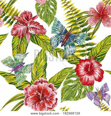 Seamless summer pattern made of tropical flowers butterfly and leaves painted by hand hatching. Print exotic jungle plants. Natural wallpaper on white background